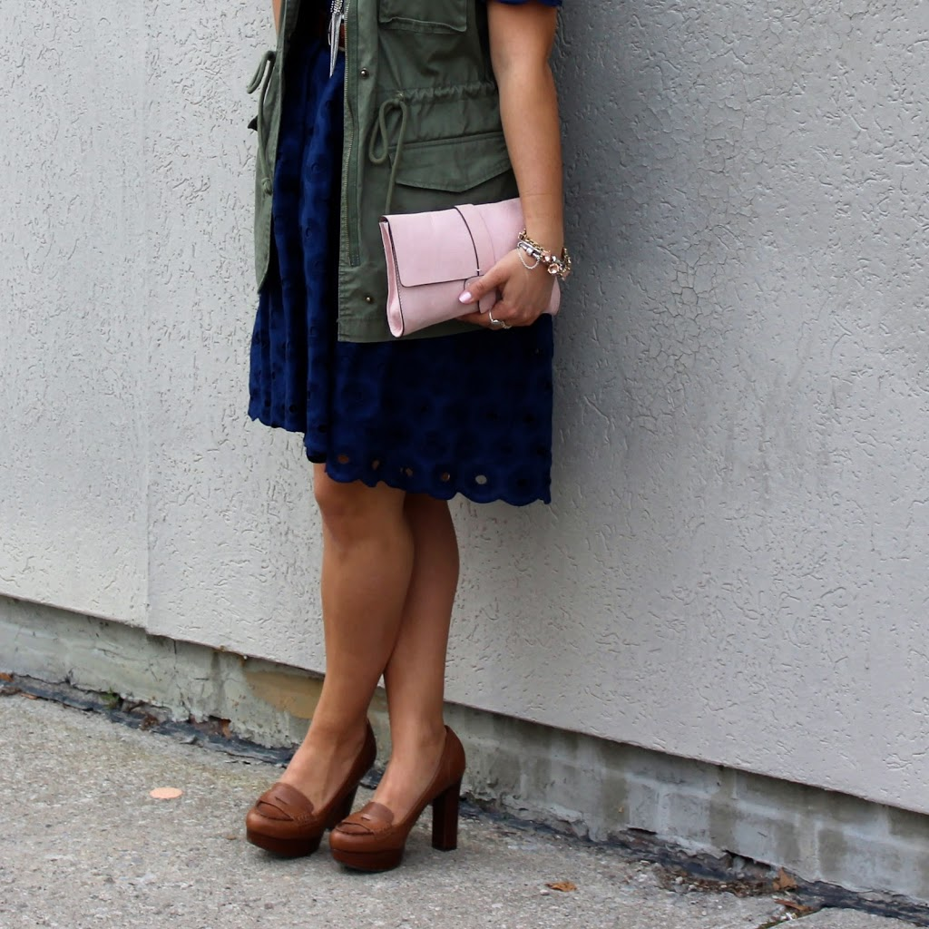 Cargo on Lace: Utility Vest from Old Navy, Pink clutch from Gap and a lace dress from J.Crew Factory