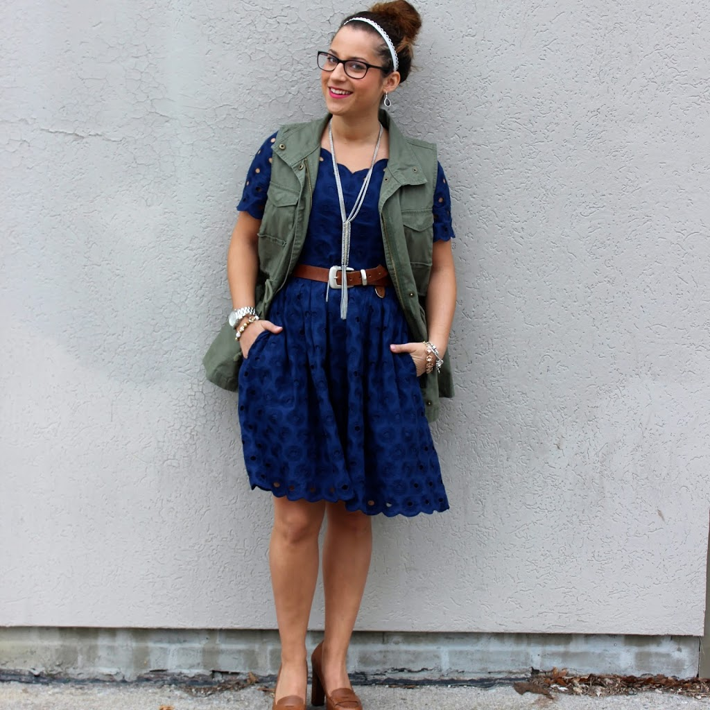 Outfit inspiration from Canadian Fashion and Lifestyle blogger - Cargo Vest from Old Navy with a pretty lace dress from J.Crew Factory
