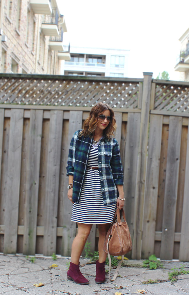 Pattern Mixing - Plaid and Stripes for Fall