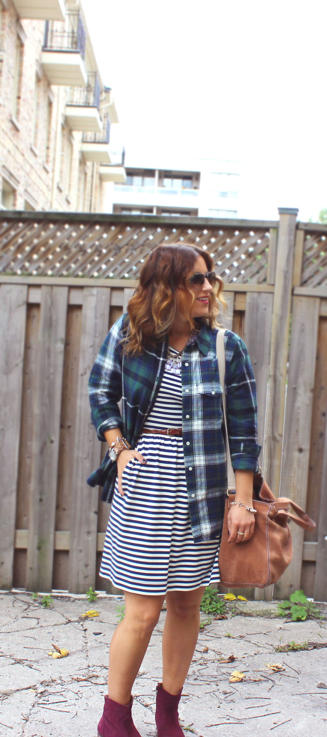 Mixing patterns - how to wear plaid and stripes together