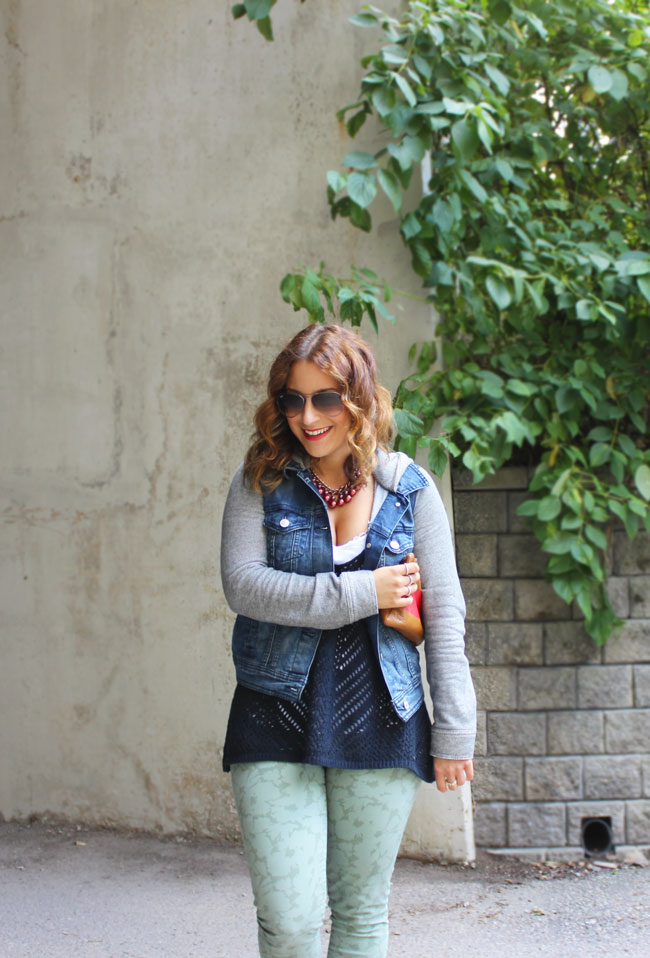 Hooded denim Jacket and Camo Pants