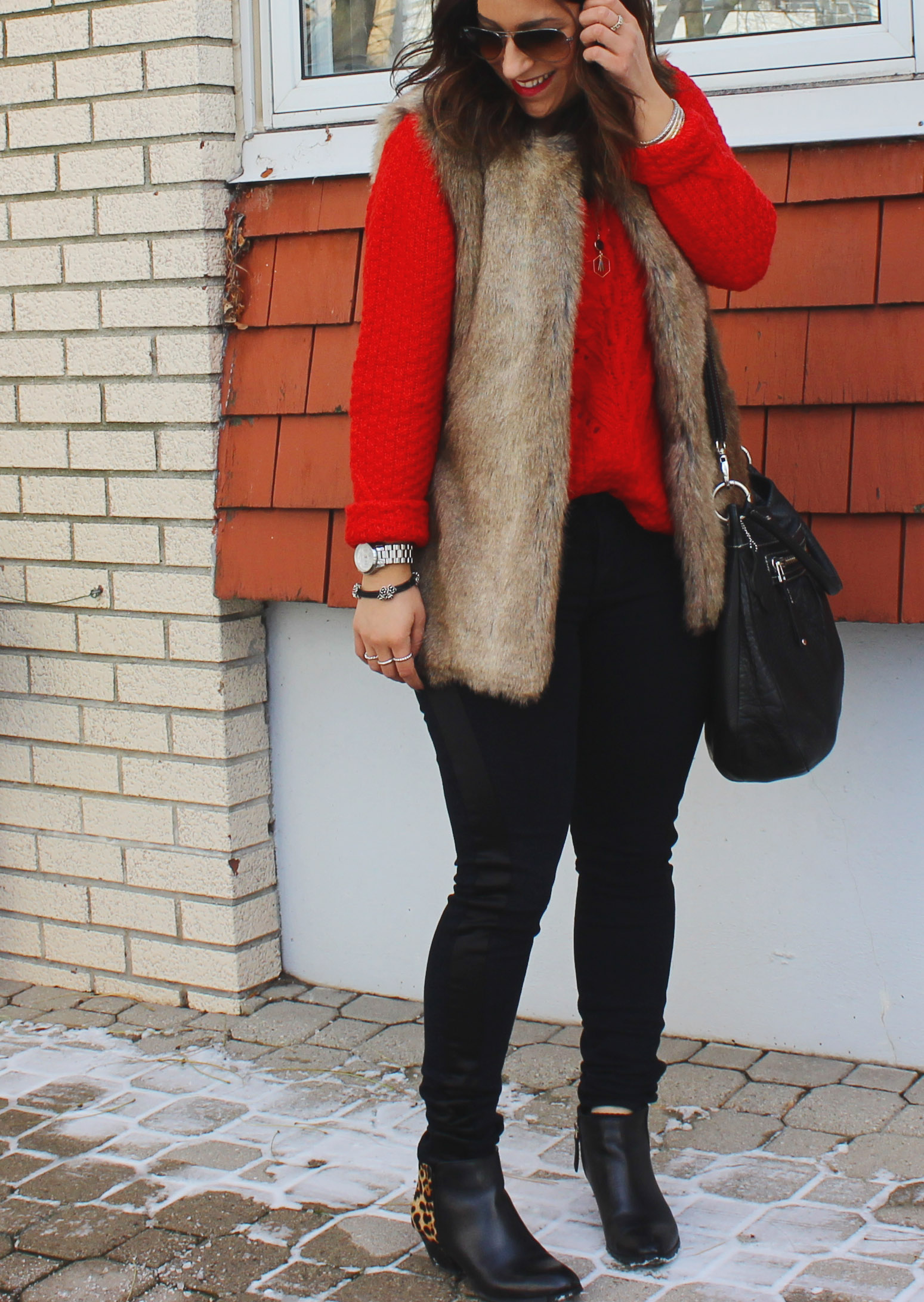 Faux Fur Vest, Holiday Outfit, J Brand from Seventh Heaven