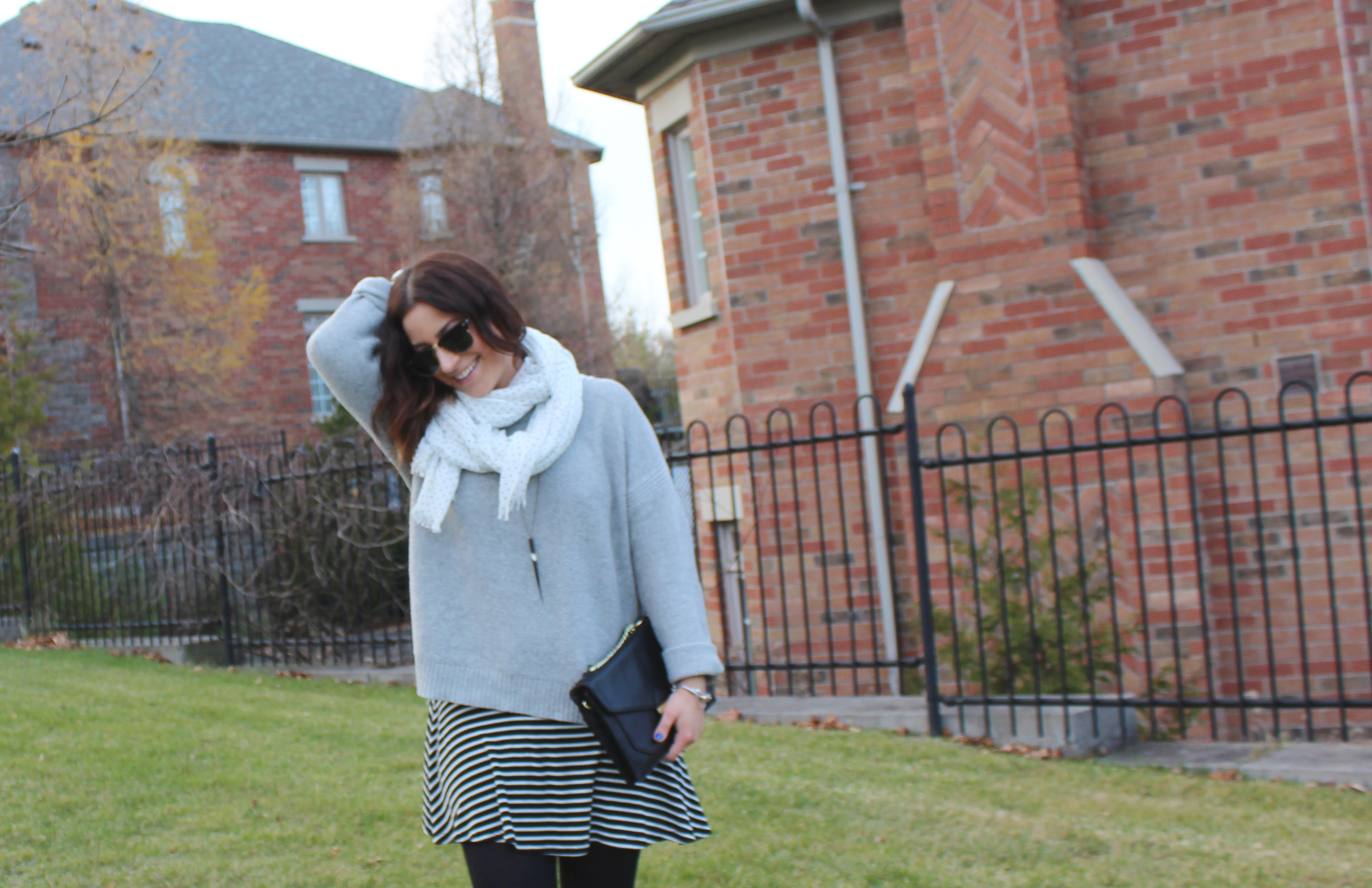 Madewell Oversized Sweater, Striped Dress Underneath