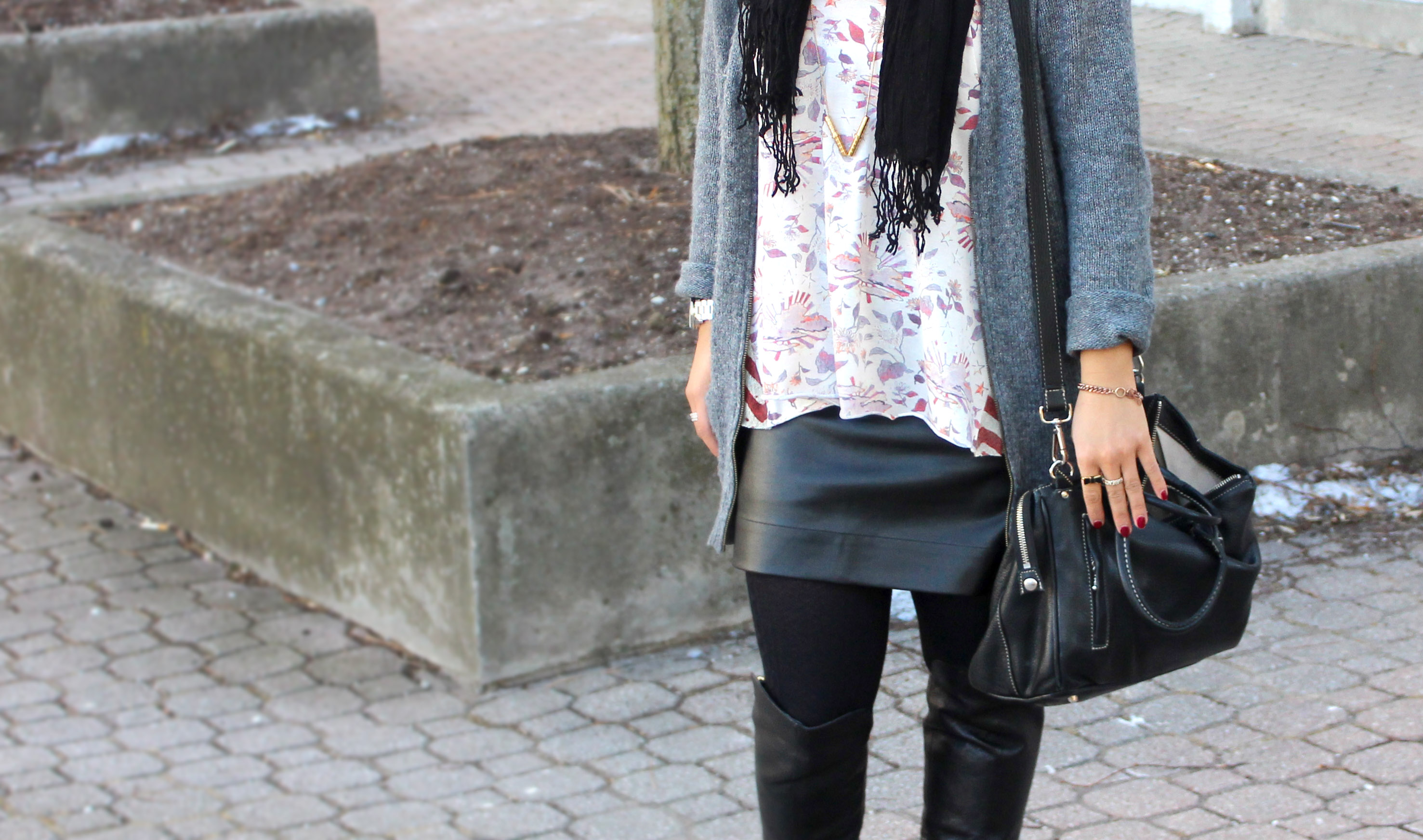 Fitted faux leather skirt, cardigan, boots : Something About That