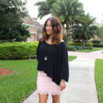 pink lace skirt