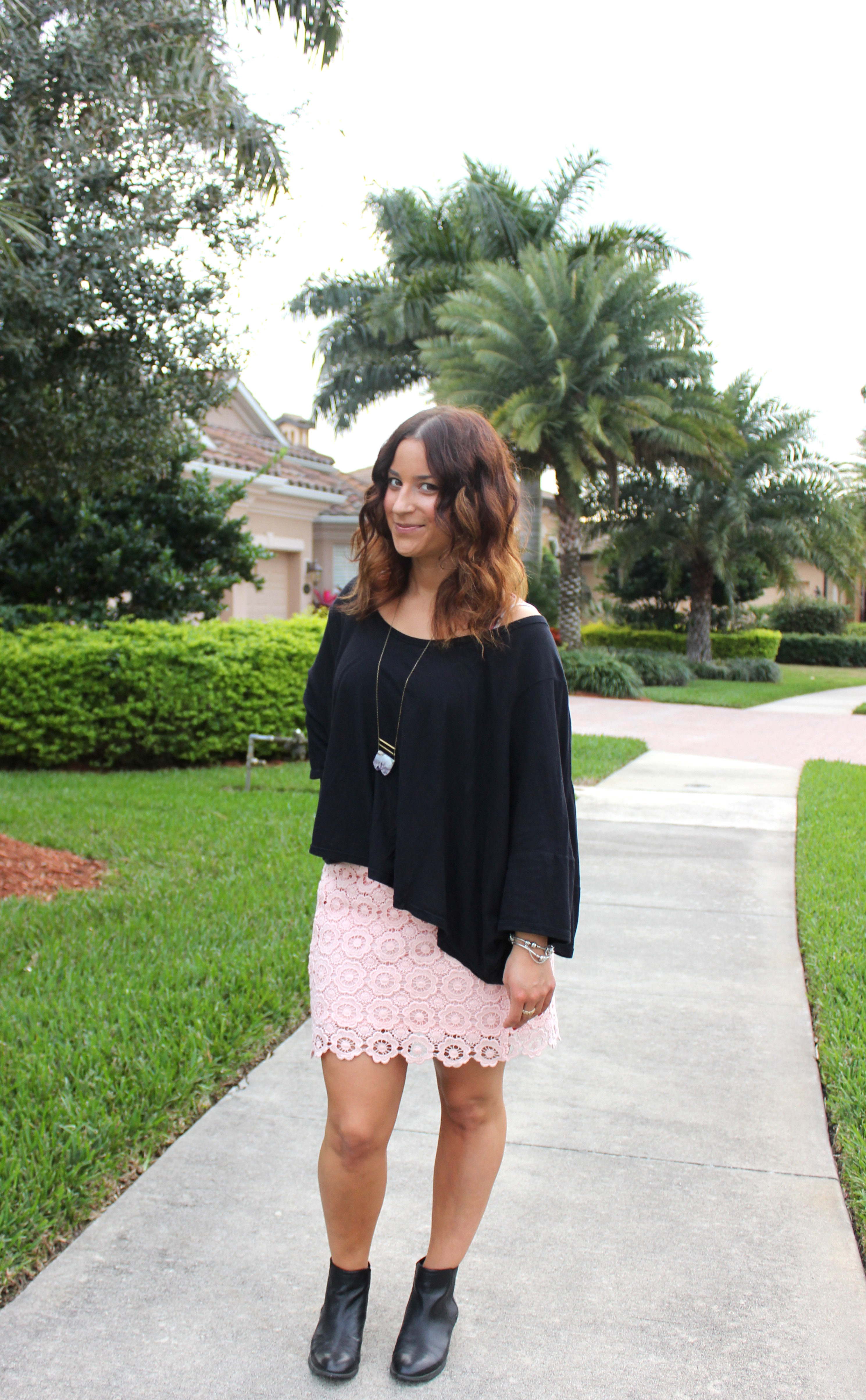 Pink Lace Skirt, Slouchy Top