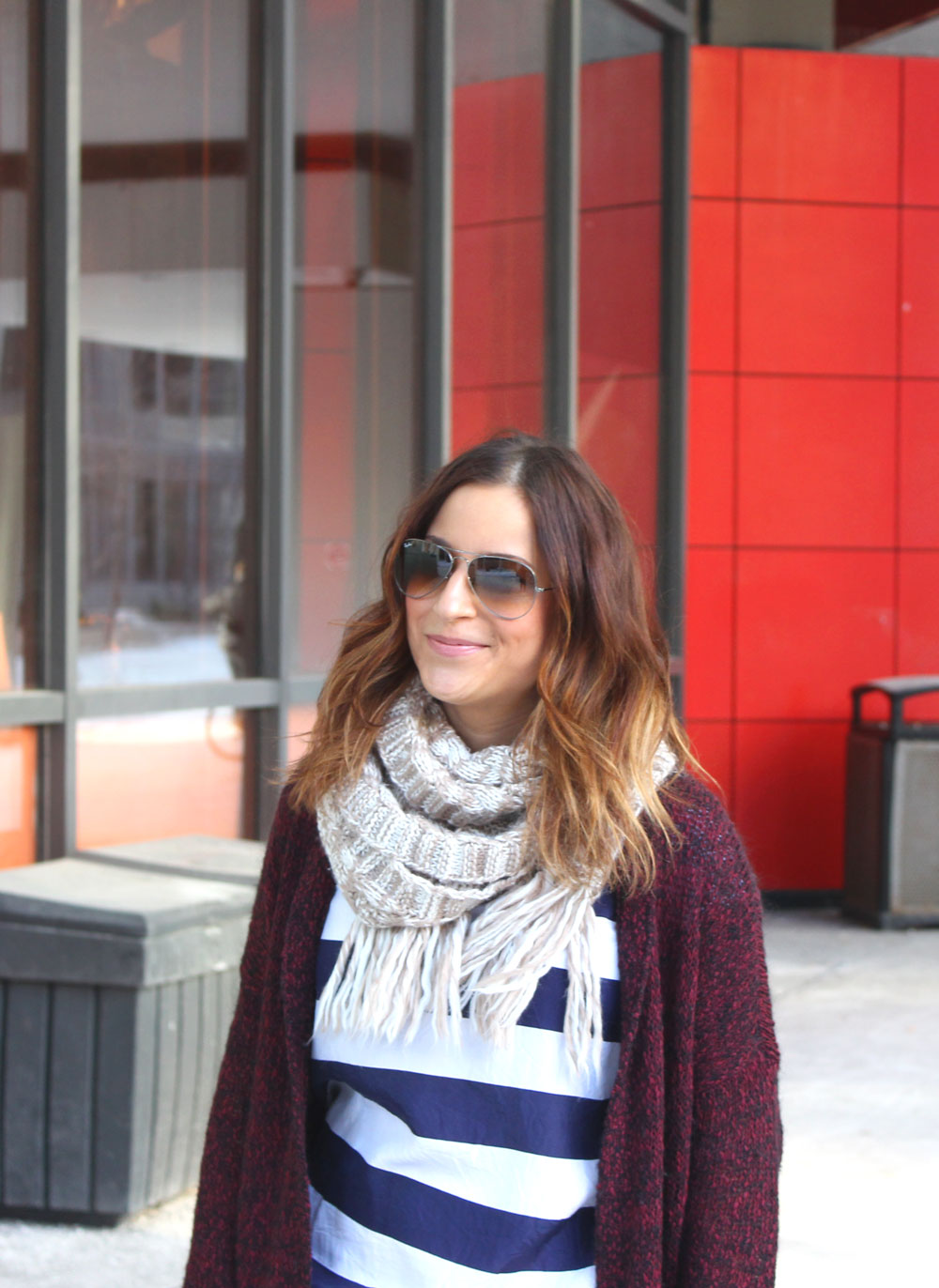 Mixing Stripes, Camo and Burgundy - style challenge