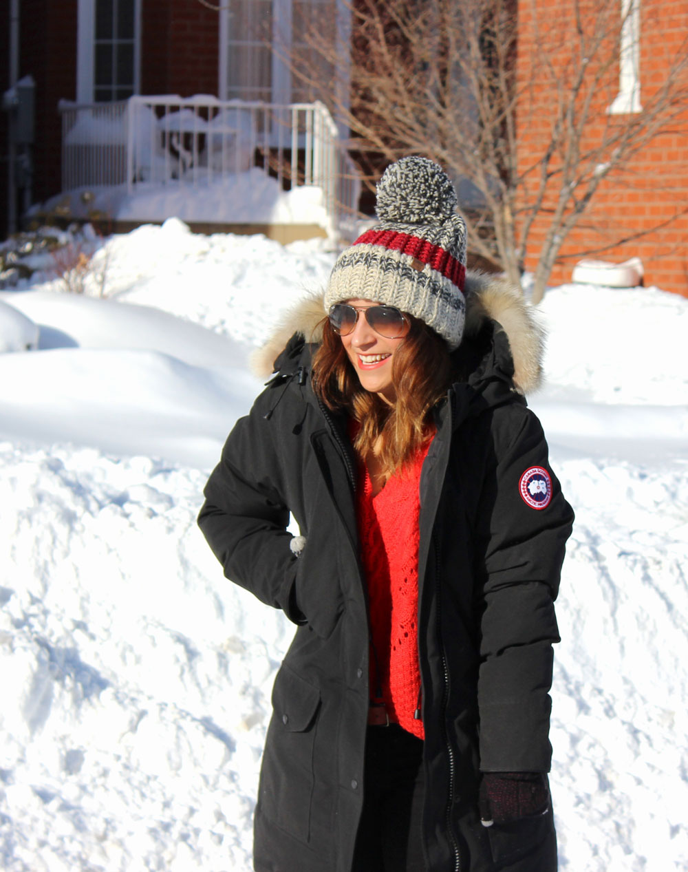 What to wear to stay warm in winter - Canada Goose Jacket and Chunky Beanie