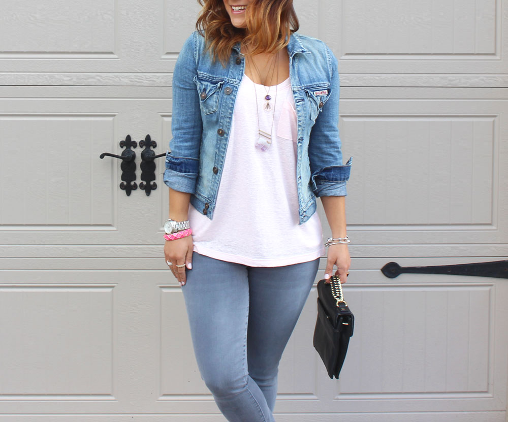 Hudson Jeans denim jacket, Gap skinny jeans and Crafts and love necklace