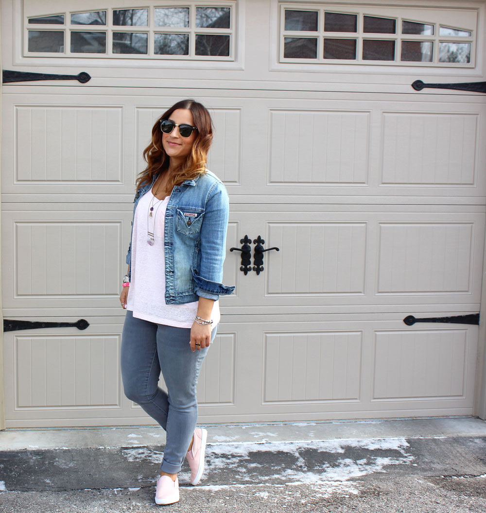 Cute Canadian Tuxedo outfit idea with Hudson Jeans denim jacket