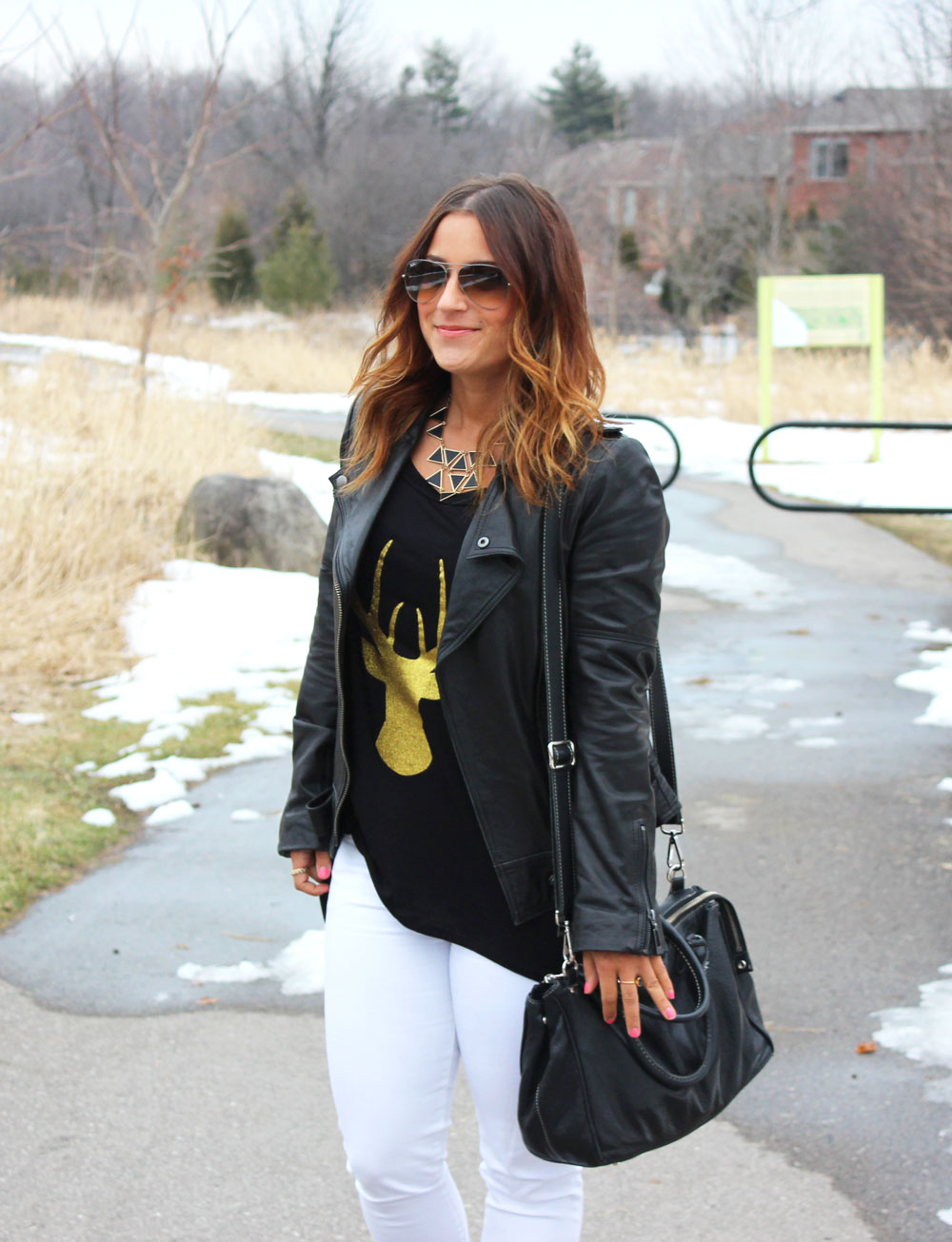 The Shopping Bag - Leather Jacket, White Jeans, Cute Graphic Tee