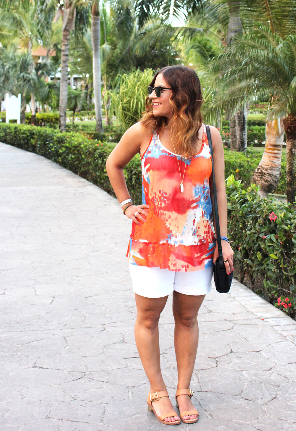 Spring Break Style - Bright Tank Top and White Shorts