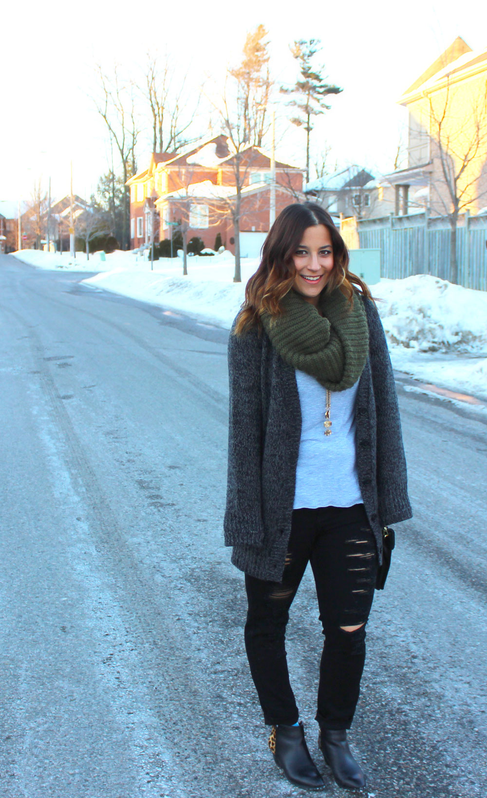 Chunky Cardigan, Infinity Scarf, and Ripped Black Skinny Jeans - Winter Fashion