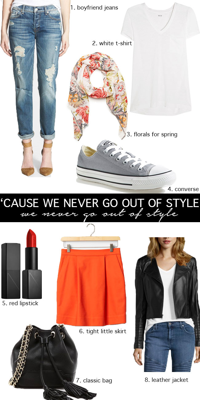 Taylor Swift Inspired Spring Classics: red lip, tight little skirt, white t-shirt - We never go out of style