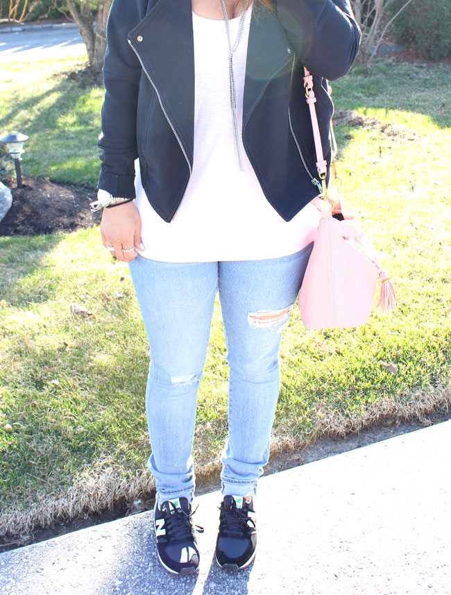 Moto Jacket, Light Ripped Jeans, New Balance Sneakers - Casual Weekend Outfit