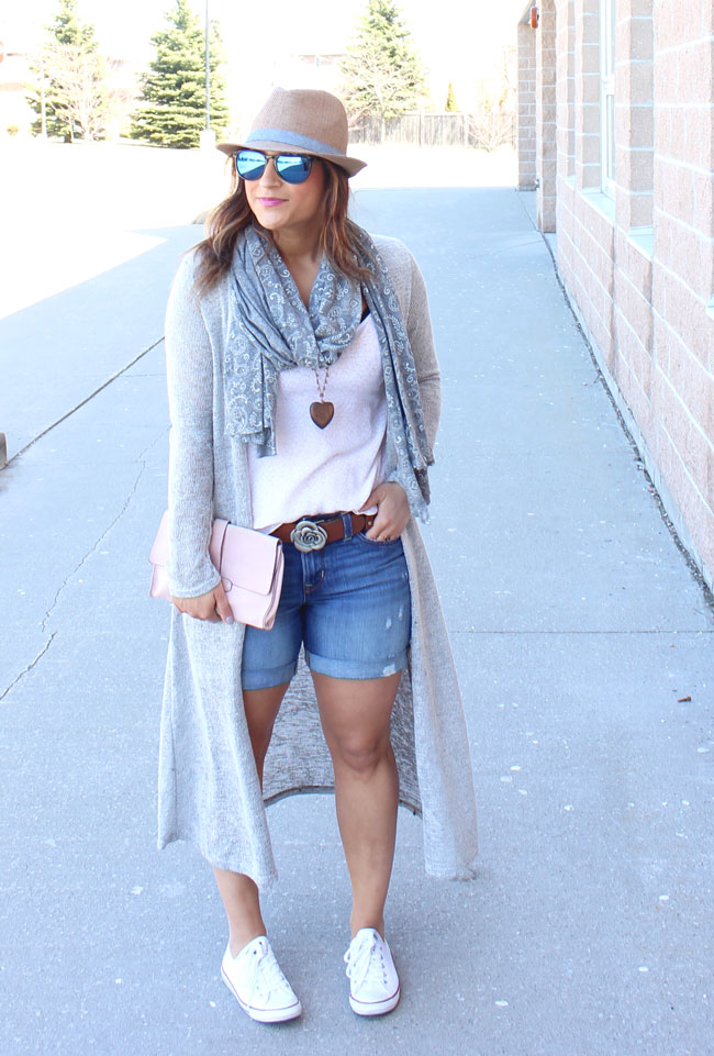 Long line cardigan, boyfriend shorts and a fedora