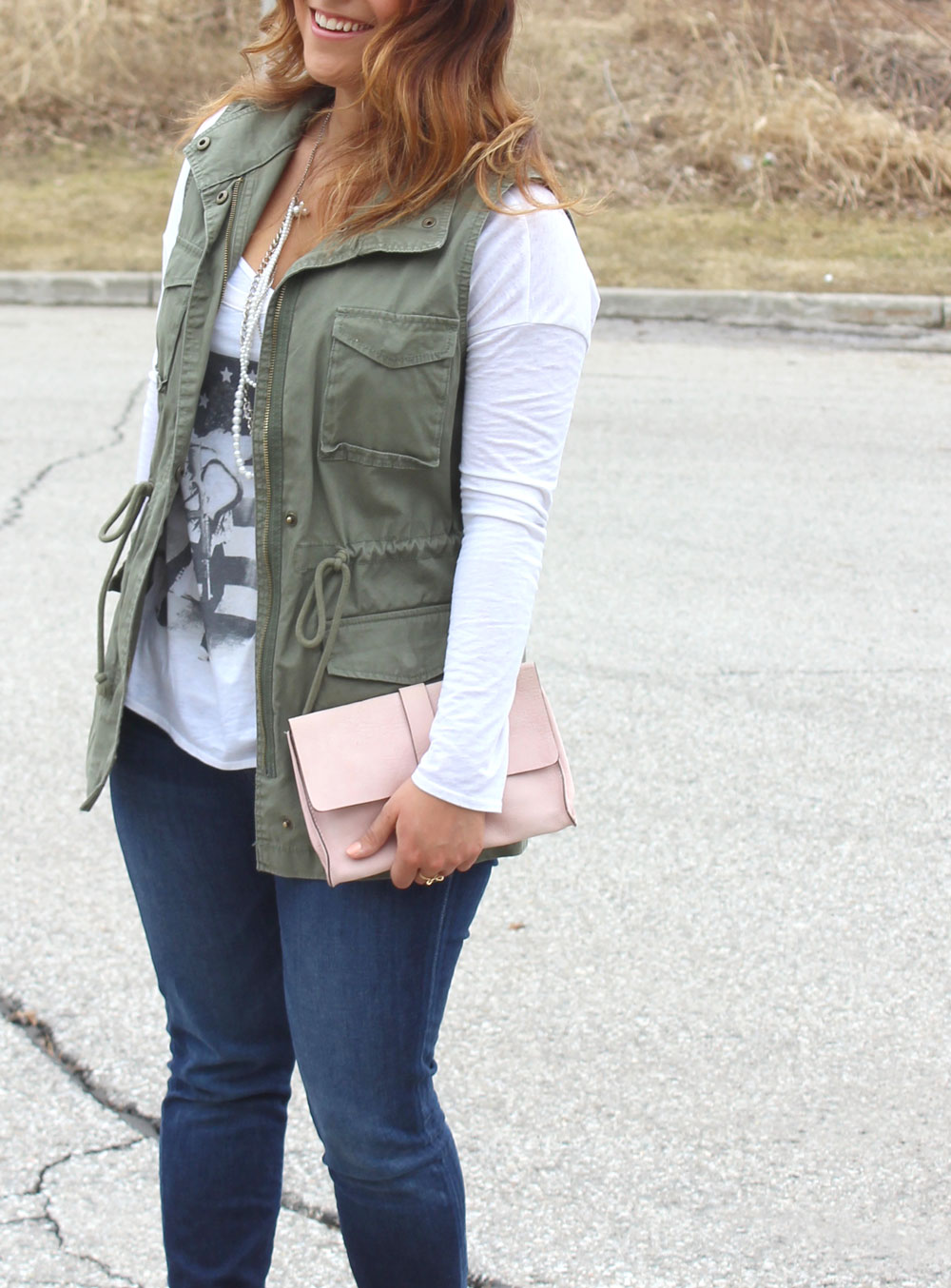 Utility Vest, Graphic Tee and Jeans - How to Layer For Spring