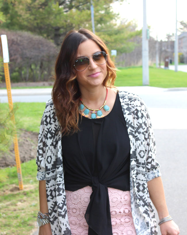Target Tribal Printed Cardigan, as worn by Toronto fashion, beauty and lifestyle blogger, Jackie Goldhar
