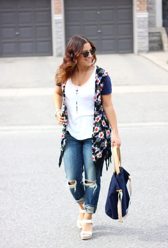 Toronto fashion blogger shares a casual summer outfit idea: Floral Vest from Zara, Rag & Bone Boyfriend Jeans
