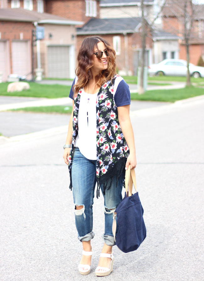 Floral Vest, Boyfriend Jeans, and Wedges - Casual Summer Outfit