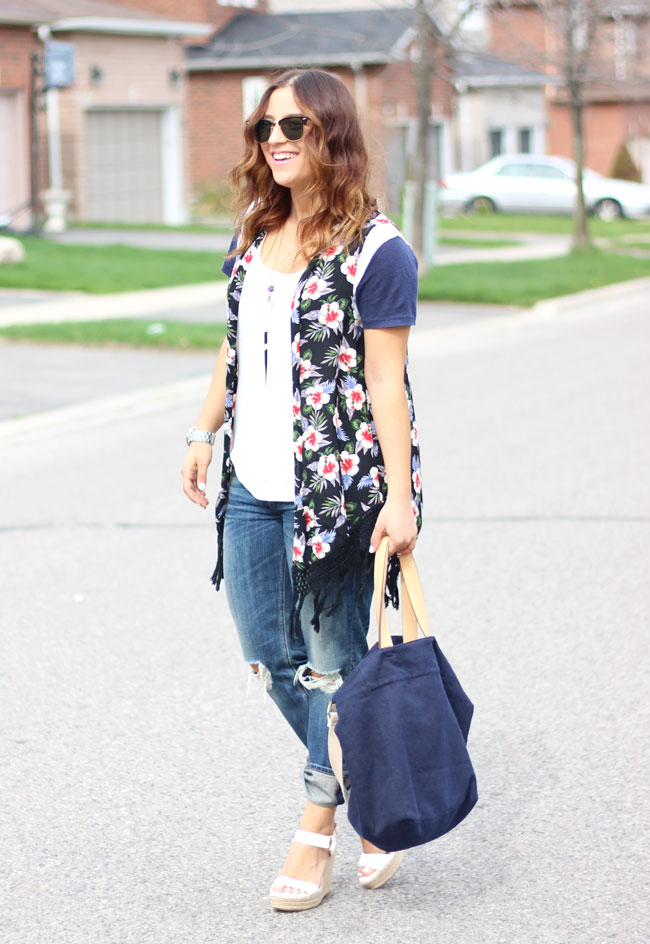Casual outfit idea with ripped Rag & Bone boyfriend jeans from Aritzia