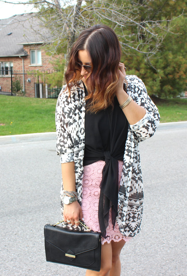 Tribal Printed Cardigan from Target, paired with pink lace pencil skirt from Joe Fresh