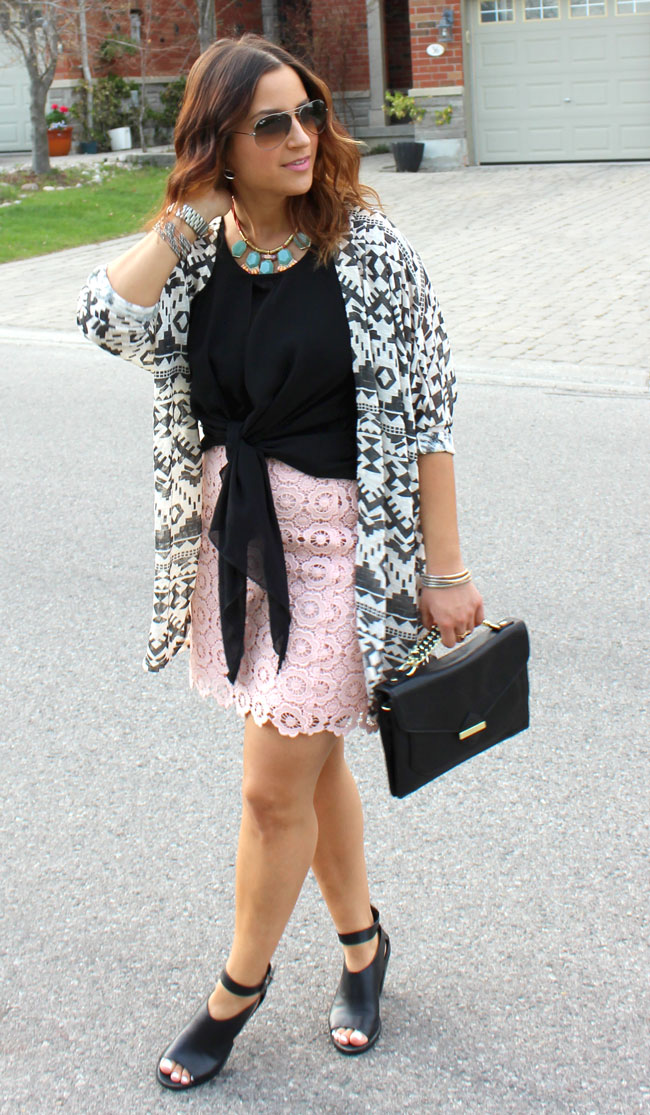 Tribal Printed Cardigan from Target, Black Top, Pink Lace Skirt from Joe Fresh
