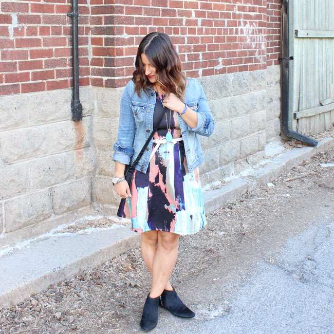 Summer Dress, Denim Jacket and Ankle Booties