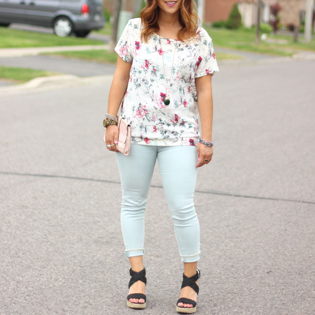Light denim from LOFT and florals from Joe Fresh