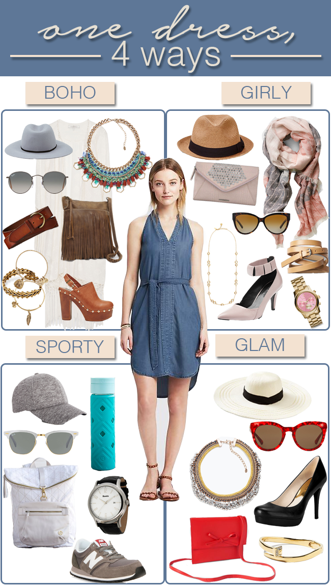 one dress, four ways - boho, girly, sporty, glam with accessories