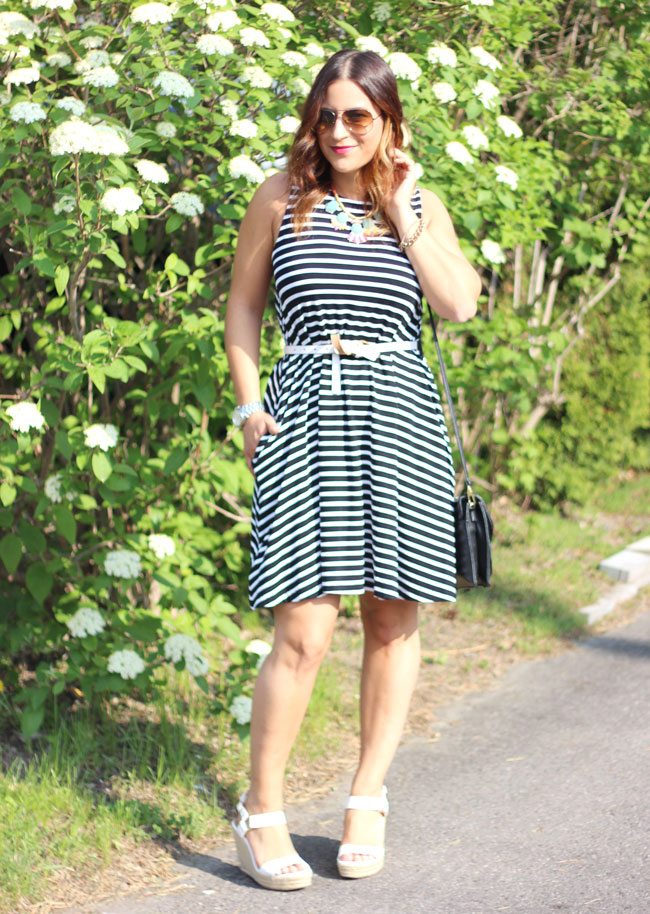 versatile striped sundress and wedge sandals