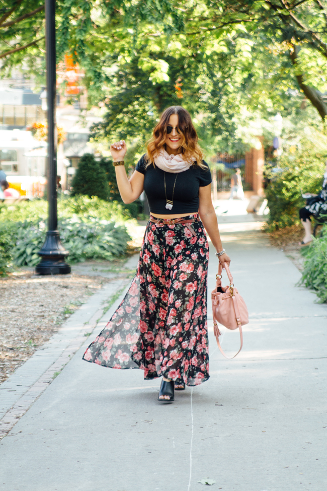Crop top with a Forever21 floral maxi skirt