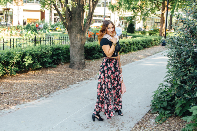 Crop top with a floral maxi skirt from Forever21