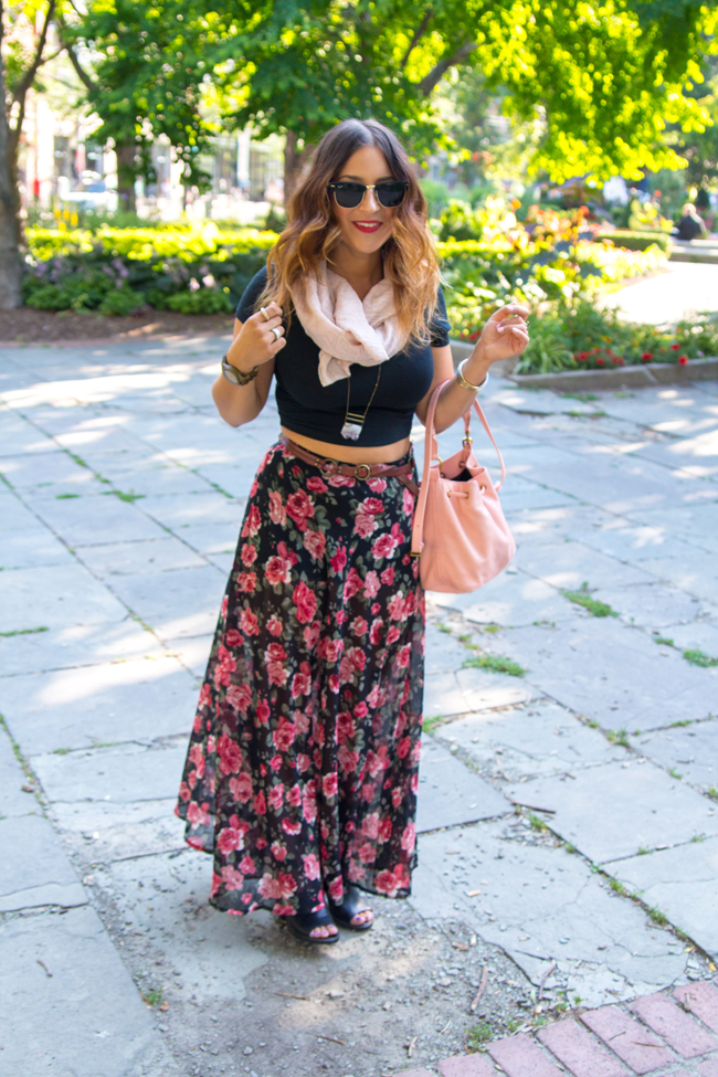 Crop top with a floral maxi skirt