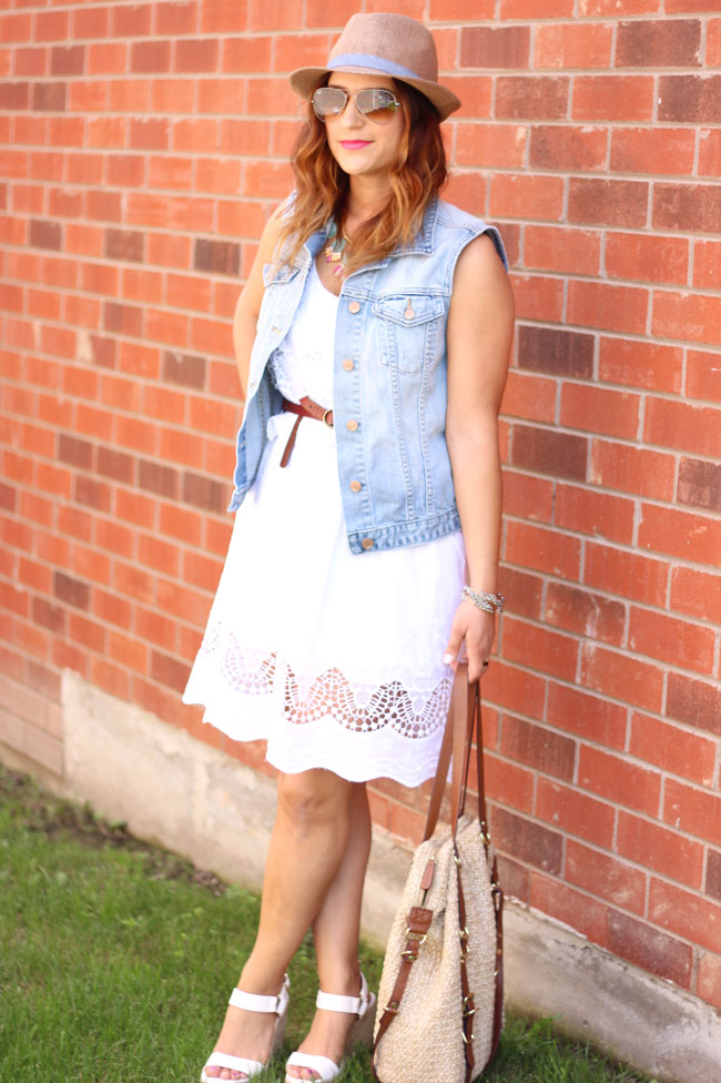 Little white dress from dressometry, denim vest and white wedges