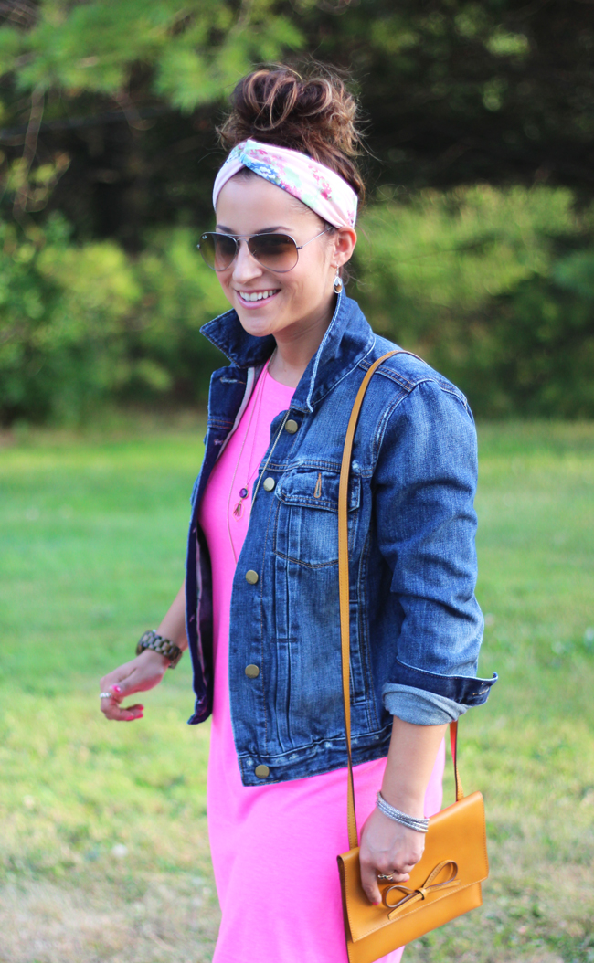 Neon pink shift dress and a denim jacket