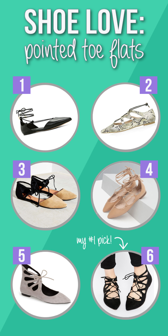 fall 2015 shoe trend - pointed toe, lace flats