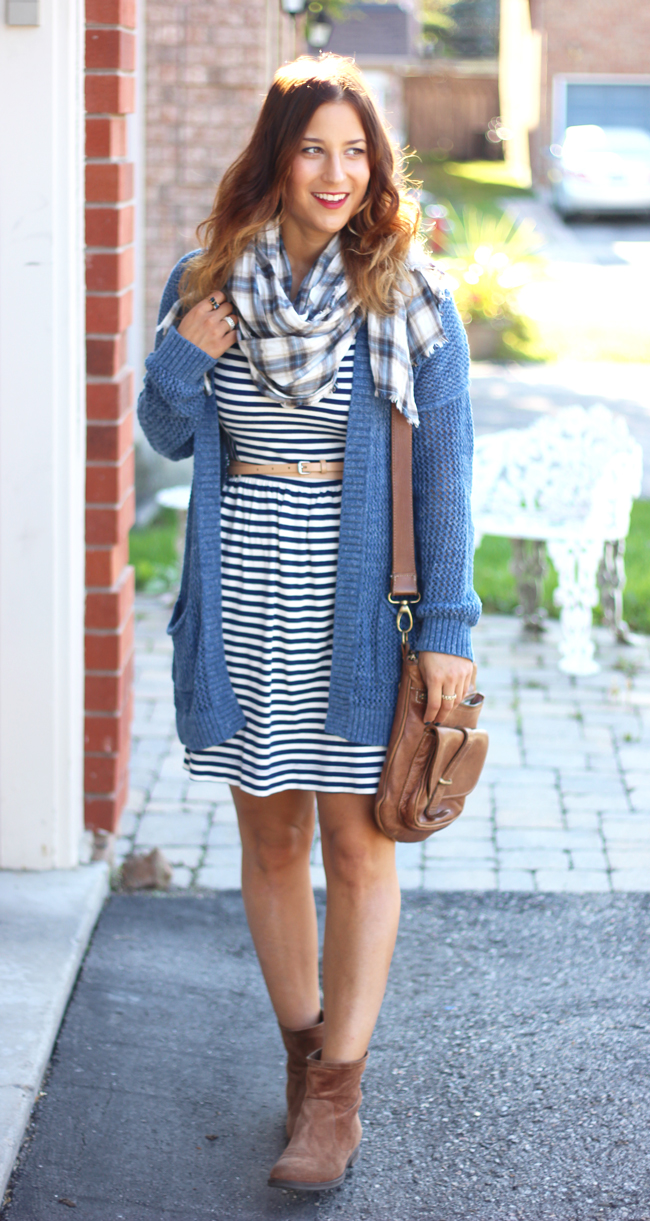 fall stripes and plaid with blue eyeliner