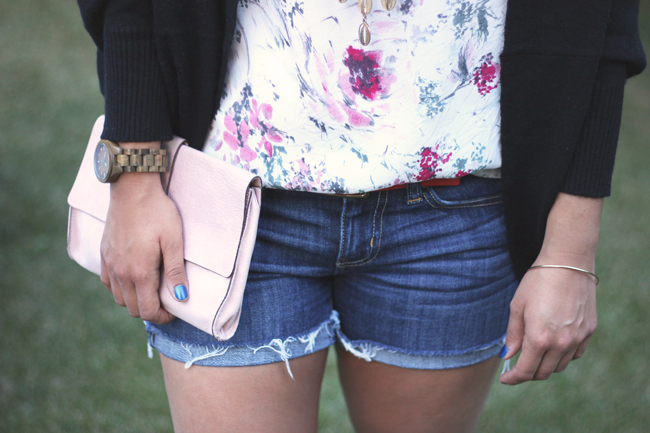 Denim Shorts from American Eagle with a floral top from joe fresh