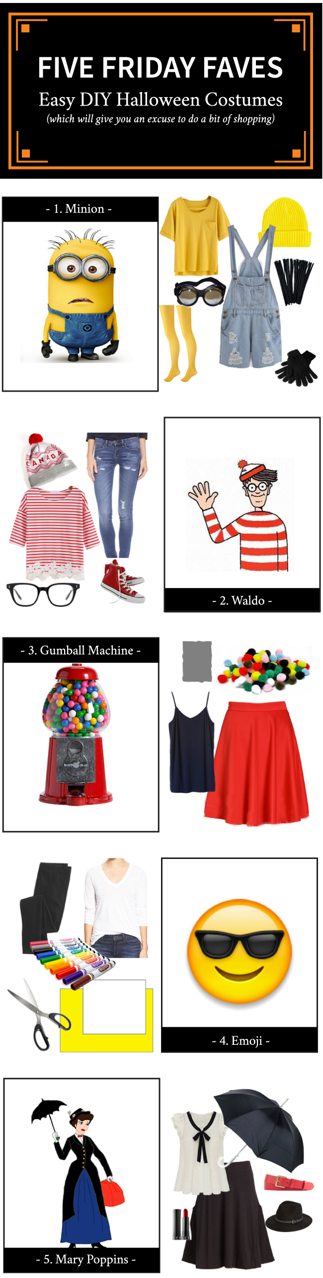Five Friday Faves - Easy DIY Halloween Costumes