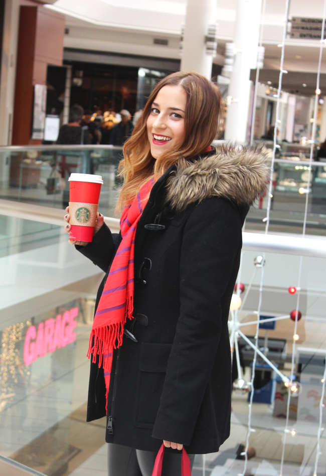 Toronto fashion and lifestyle blogger, Jackie Goldhar from Something About That, wearing a Soia & Kyo Winter Coat at Upper Canada Mall in Newmarket