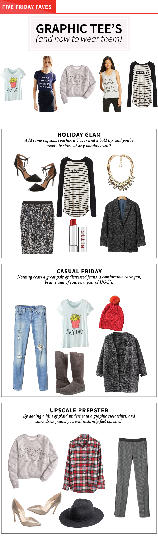 Five Friday Faves - Graphic Tee's (and how to style them)