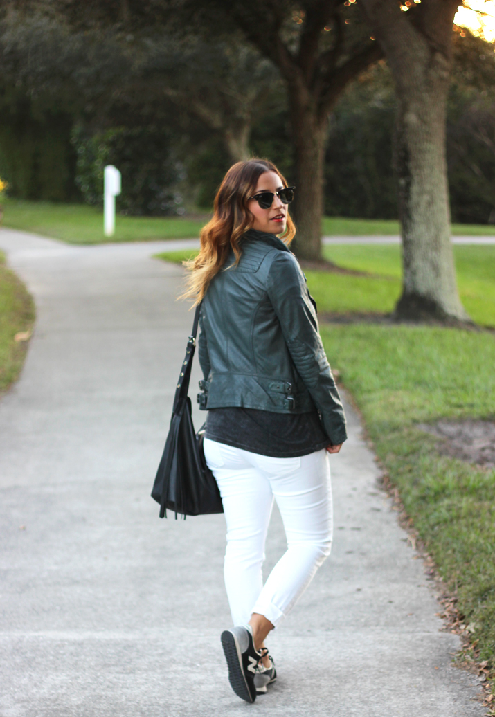 How to Wear White Jeans in the Winter - Add Leather