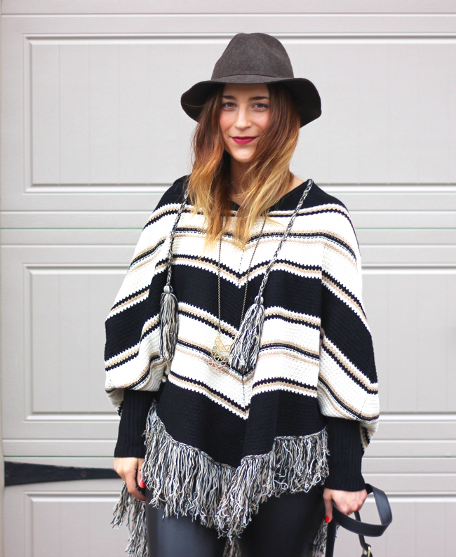 poncho, faux leather leggings and a floppy hat - toronto fashion blogger