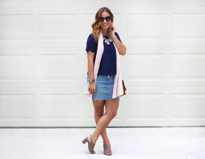 Scalloped Edges and a Denim Skirt - Toronto Fashion Blogger