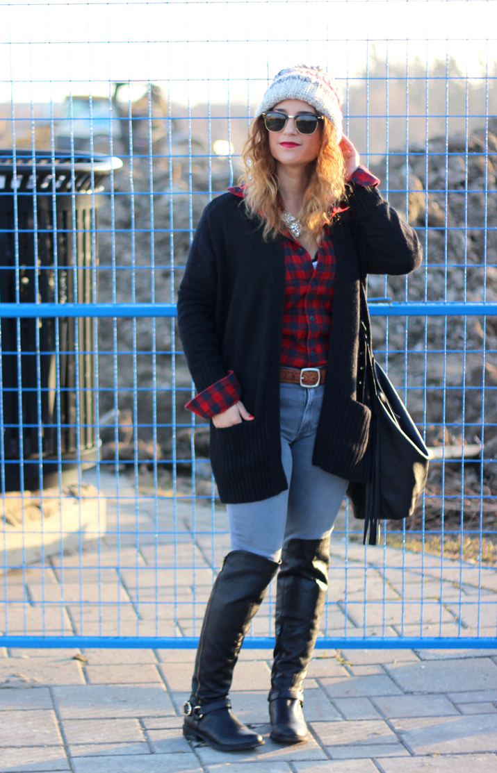 Winter Outfit Staples - Plaid, Cardigan, Oversized Beanie