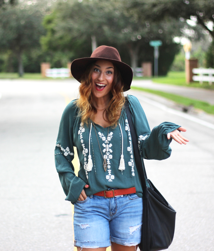 Boho Outfit - Target Blouse and boyfriend shorts