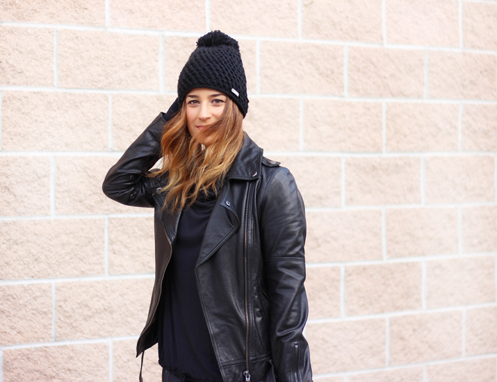 Toronto Blogger in Soia & Kyo Leather Moto Jacket