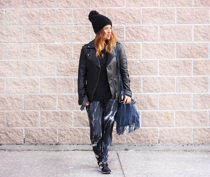Bench Canada Marble Leggings and leather moto jacket
