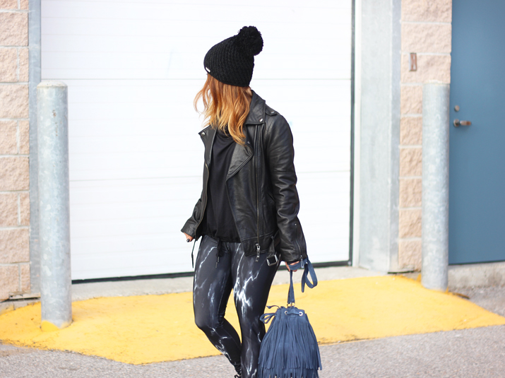 Bench Canada Marble Leggings and Brave Leather Fringe Bucket Bag